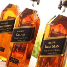 Personalized Johnny Walker Scotch Black Label, Will you be my Groomsman.  (printed on gold foil)