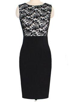 Black Floral Lace Patchwork Sleeveless Dress - Dresses