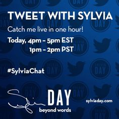 Catch me live in one hour on Twitter #SylviaChat