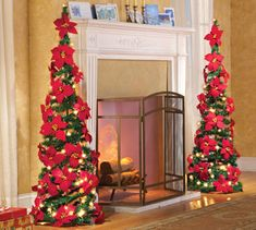 """Lighted Collapsible 52"""" Poinsettia Decorative Christmas Tree. Make these with the tomato cages to put at front door."""