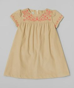Love this Khaki & Coral Floral Sophia Dress - Toddler & Girls by bella bliss on #zulily! #zulilyfinds