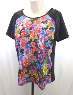 Romeo + Juliet Couture Floral T-shirt Eyelet Front Solid Zipper Back Med NWT #RomeoJulietCouture #Tshirt