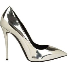 GIUSEPPE ZANOTTI Yvette Metallic Court Shoes (855 AUD) ❤ liked on Polyvore featuring shoes, pumps, heels, high heels, sapatos, silver, leather pumps, leather shoes, stiletto pumps and pointed toe pumps