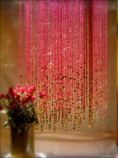 beaded curtain pink with gold is goegeous                                                                                                                                                     More