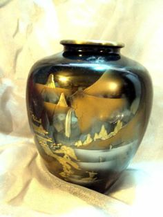 Chokin 24 Kt Gold Gilded Black Vase Made In Japan