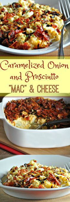 Keto Caramelized Onion and Prosciutto Mac and Cheese | Peace Love and Low Carb  via @PeaceLoveLoCarb