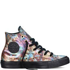 Converse Chuck Taylor All Star High Top Iridescent Leather in Black