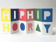 Hip Hip Hooray is die cut and offset printed locally on FSC-cerified 250gsm card. Teamed with a celebratory envelope and supplied with cello wrap.... Offset Printing, Hip Hip, Die Cut Cards, Craft Projects, Project Ideas, Cello, Typography Design, Signage, Envelope