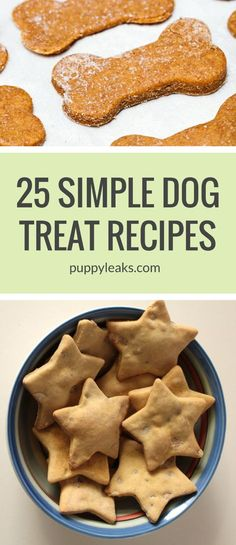 25 Simple Dog Treat Recipes: Made With 5 Ingredients or Less 25 Quick & Easy Dog Treat Recipes. Here's 25 homemade dog treat recipes, all made with 5 ingredients or less. From grain free to frozen, there's a treat Dog Treats Grain Free, Diy Dog Treats, Healthy Dog Treats, Homeade Dog Treats, Treats For Puppies, Birthday Treats For Dogs, Snacks For Dogs, Puppy Treats, Dog Biscuit Recipes