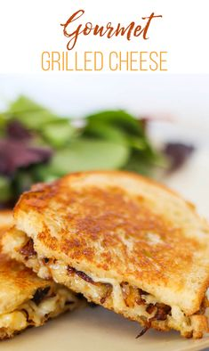 Take your grilled cheese game to the next level with our Gourmet Grilled Cheese recipe. Stuffed with shredded Gruyère and caramelized onions, this melty, flavor-packed, one of a kind grilled cheese will be your new go-to sandwich. Gourmet Sandwiches, Sandwich Recipes, Grilled Cheese Recipes, Grilled Cheeses, Cooking Recipes, Healthy Recipes, Healthy Food, Meatless Recipes, Snack Recipes