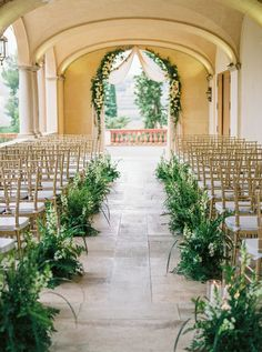 Outdoor Wedding Ceremonies - Beyond stunning, this Barcelona wedding shines - in gold and lots of greenery - from start to finish! Church Wedding Flowers, Modern Wedding Venue, Wedding Flower Packages, Church Wedding Decorations, Luxury Wedding Venues, Wedding Shoot, Wedding Ceremony, Wedding Ideas, Aisle Flowers