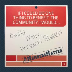 Sabrina, a member of our Corry location, would like to benefit our community by building more homeless shelters. #MembersMatterMondayMoment #MembersMatter #LocalMatters #Communerosity