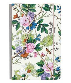 WWAV087/$15: delicate 18th century floral patterned journal.  Gilded edges, 192 pages. Elastic closure, fabric spine.  Also buy the pen shown as WWAV070 to make this a memorable gift set.  Journal measures 8.3 x 5.5 x .8.