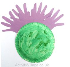 """This interesting craft combines a number of techniques to produce a """"woven"""" thistle with lots of texture. Burns Night Activities, Burns Night Crafts, Toddler Crafts, Preschool Crafts, Crafts For Kids, Kindergarten Crafts, Preschool Worksheets, Valentines For Kids, Valentine Day Cards"""