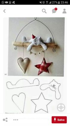MiiMii - crafts for mom and daughter.: How to make Christmas ornaments for a few pennies - time to start work :) Christmas Makes, Felt Christmas, Christmas Time, Christmas Ornaments, Christmas Kitty, Christmas Projects, Holiday Crafts, Holiday Decor, Fabric Crafts