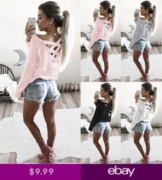 70203bd665f Fashion Womens Summer Long Sleeve Cotton Tunic Casual Blouse Loose Tops T  Shirt in Clothing