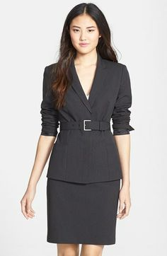 Halogen® Mini Pinstripe Belted Suit Jacket available at #Nordstrom