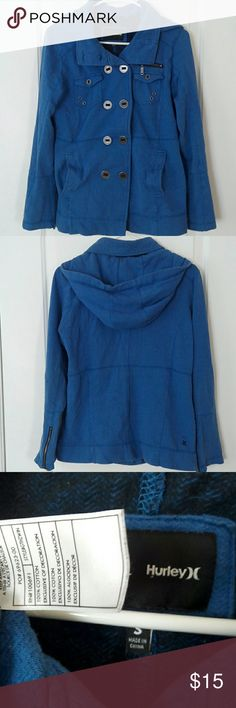 Hurley blue jacket Hurley slightly muted royal/ cobalt blue jacket. Super soft 100% cotton sweatshirt like material. Multiple pockets including one zippered. Muted silver button and zipper details. Slightly faded, light wear. Size S. Hurley Jackets & Coats Pea Coats