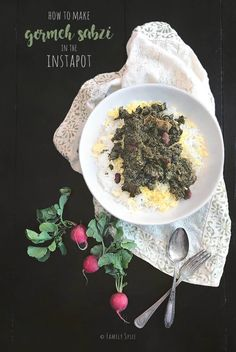 Instant Pot Ghormeh Sabzi (Persian Herb Stew with Beef) - Family Spice Multi Cooker Recipes, Middle Eastern Dishes, Iranian Food, Plant Based Recipes, Crockpot Recipes, Stew, Instant Pot, Food Photography, Yummy Food