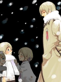 Hetalia (ヘタリア) - Russia (ロシア).  Somehow, I feel like grown-up Russia is sad for his younger self.  Maybe it's the knowledge that he will grow up to be a huge, lonely country that everyone is afraid of and he doesn't want the kid to have to suffer through all that...