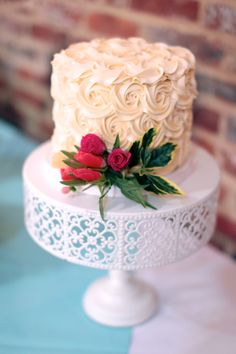 Small wedding cake. Rosette wedding cake. Photo by Ruut DeMeo Portraits.