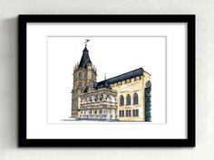 """Uns Kölle am Rhing """"Historisches Rathaus""""  Das """"historische"""" Kölner Rathaus ist aufgrund seiner Bauzeugnisse als ältestes Rathaus Deutschlands anzusehen. Der imposante Rathausturm mit seinen 130 Steinstatuen und der Renaissance Vorbau """"Laube"""" bilden ein eindrucksvolles Bauwerk. Für viele Kölnerinnen und Kölner besteht jedoch auch eine emotionale Bindung zum Rathaus, befinden sich doch die Trauzimmer im Rathausturm."""