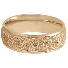Hand-Engraved Flower Wedding Ring Wide Band 14k Rose Gold 7mm