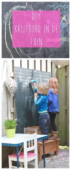 DIY krijtbord in de tuin, schoolbord, stoepkrijt - mamamaai