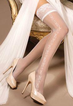 e254669ce3b969 Białe pończochy samonośne Ballerina 257 - SOYELLE.PL- Stocking Tights,  Bride Lingerie,