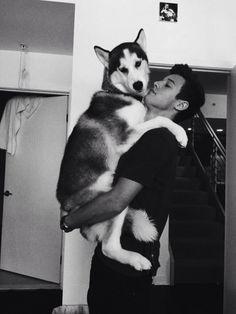 he's sooo good with dogs