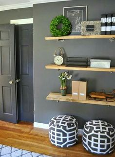 Wonderful Floating shelves – great for small spaces too! The post Floating shelves – great for small spaces too!… appeared first on Feste Home Decor . Living Room Shelves, Bedroom Wall Shelves, Decorating Ideas For The Home Living Room, Living Room Wall Decor, Small Living Room Ideas With Tv, Shelf Headboard, Small Wall Decor, Grey Walls Living Room, Shelf Nightstand