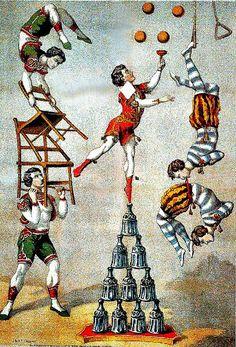 """hauntedballroom: """"Acrobats, 1870 (by Double—M) """""""