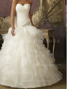 2012 New Arriva Strapless Sweetheart Dropped Waist Beading Tiered Bottom Organza Ball Gown Wedding Dresses ML1856_Ball Gown Wedding Dresses_Wedding Dresses_Buy High Quality Dresses Online from Chinese Dress Factory - Babyonlinedress.com