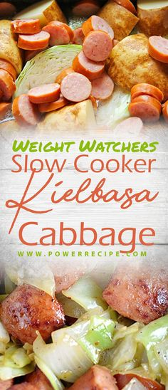 Weight Watchers Slow Cooker Kielbasa And Cabbage - All about Your Power Recipes - Beef Recipes Weight Watcher Dinners, Weight Watchers Chicken, Weight Loss Meals, Healthy Recipes For Weight Loss, Easy Healthy Recipes, Easy Meals, Weight Watchers Slow Cooker Recipe, Healthy Foods, Keilbasa And Cabbage
