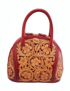 Handmade Leather Craft Sheridan Floral Carving Alma Style Handbag for Women 01