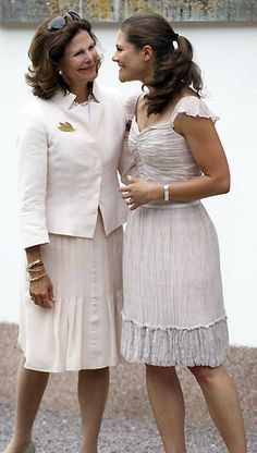 I love this photo of Queen Silvia of Sweden and her daughter Crown Princess Victoria