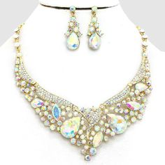Elegant Crystal AB Gold Teardrop Empress Necklace Bib Collar Pendant Earring Set Listing in the Necklaces,Costume Jewelry,Jewelry & Watches Category on eBid United States