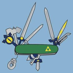 """Legend of Zelda Swiss Army Knife"" -- now I understand how he holds all those things!"