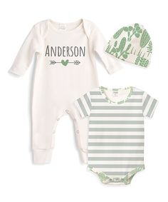Take a look at this Ivory Personalized Cactus Playsuit Set - Newborn    Infant today! 9550f7fe4