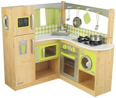 New Limited Edition Kidkraft Wooden Gourmet Lime Green Corner Play Kitchen Wooden Kitchen Set, Kitchen Ikea, Diy Play Kitchen, Toy Kitchen, Green Kitchen, Kitchen Playsets, Kitchen Sets For Kids, Grey Houses, Baby Play