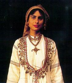 Close-up of a Greek costume of Karpasia, Cyprus. With 'saya' (robe with three panels). Late Ottoman era, end of Century. (Collection of the Cyprus Folk Art Museum). Greek Traditional Dress, Traditional Outfits, Costumes For Women, Greek Costumes, Female Costumes, Greek Clothing, Head And Neck, Folk Costume, Outfits
