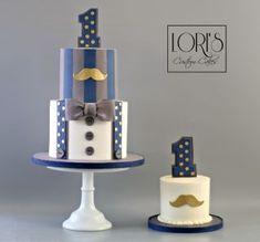 by Lori Mahoney (Lori's Custom Cakes) One Year Birthday Cake, Baby Boy 1st Birthday Party, Baby Birthday Cakes, Baby Boy Cakes, Birthday Ideas, Little Man Cakes, Bolo Barbie, Fondant Cake Designs, Tuxedo Cake