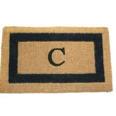 """Imperial IBM Single Monogram Golden Doormat Size: 18"""" x 30"""", Letter: C by Geo Crafts, Inc. $26.99. IBM BLK30C Size: 18"""" x 30"""", Letter: C Features: -Technique: Tufted.-Material: 100pct Natural coco fiber.-Origin: India.-Scrub off dirt.-Moisture absorbent.-Resists mildew.-Hides dirt within the fibers.-Bio-degradable.-Prolong the printed patterns or monogram, place the door mat in a sheltered area.-Personalize this Rug with Monogramming. Construction: -Construction: Ha..."""