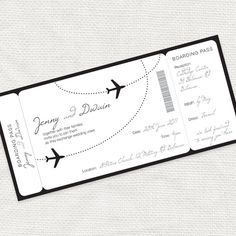 Come fly with me boarding pass wedding invitation - printable file - aviation…
