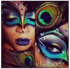 Pfau Makeup … - Halloween Make-up Peacock Eye Makeup, Dramatic Eye Makeup, Dramatic Eyes, Peacock Mask, Halloween Looks, Halloween Face Makeup, Pfau Make-up, Maquillaje Pin Up, Peacock Costume