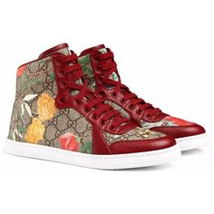 Tian High-Top Sneaker ($690) ❤ liked on Polyvore featuring shoes, sneakers, floral high top sneakers, floral shoes, flower print shoes, gucci sneakers e canvas sneakers