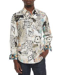 Grass Multi-Print Sport Shirt, Multi by Robert Graham at Neiman Marcus.
