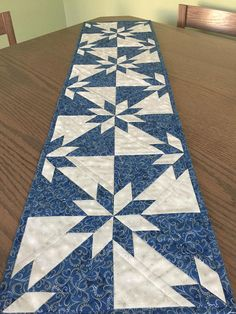 Christmas Blue Silver Metallic Quilted Hunter Star Table
