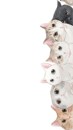 30 Ideas Cats Cute Illustration Kittens For 2019 Art And Illustration, Wallpaper Gatos, Cat Drawing, Drawing Ideas, Drawing Pictures, Crazy Cats, Cat Art, Wallpaper Backgrounds, Screen Wallpaper