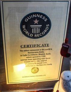 Certificado obtenido como restaurante más antiguo del mundo